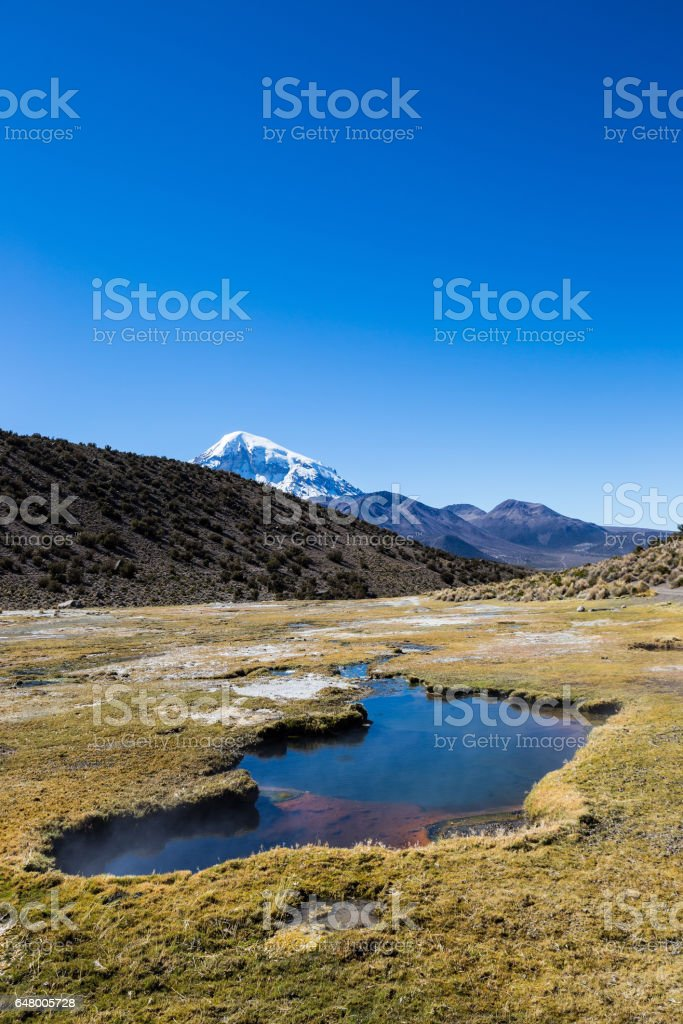 Junthuma geysers, formed by geothermal activity. Bolivia. Sajama National Park is a national park located in the Oruro Department, Bolivia. It borders Lauca National Park in Chile. stock photo