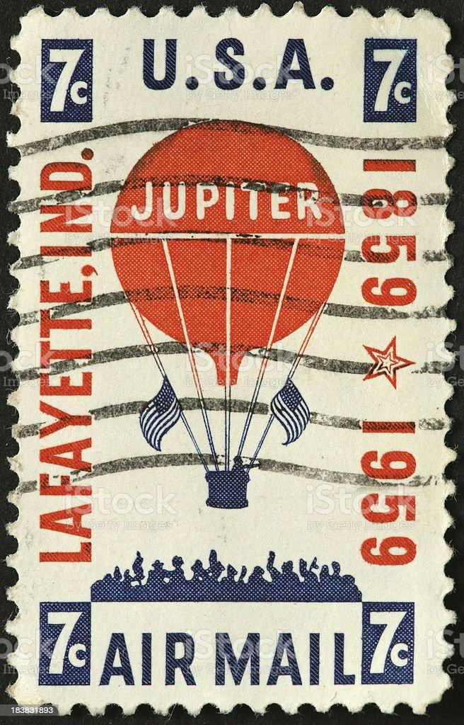 Jupiter airmail balloon flight 1859 on an old postage stamp royalty-free stock photo