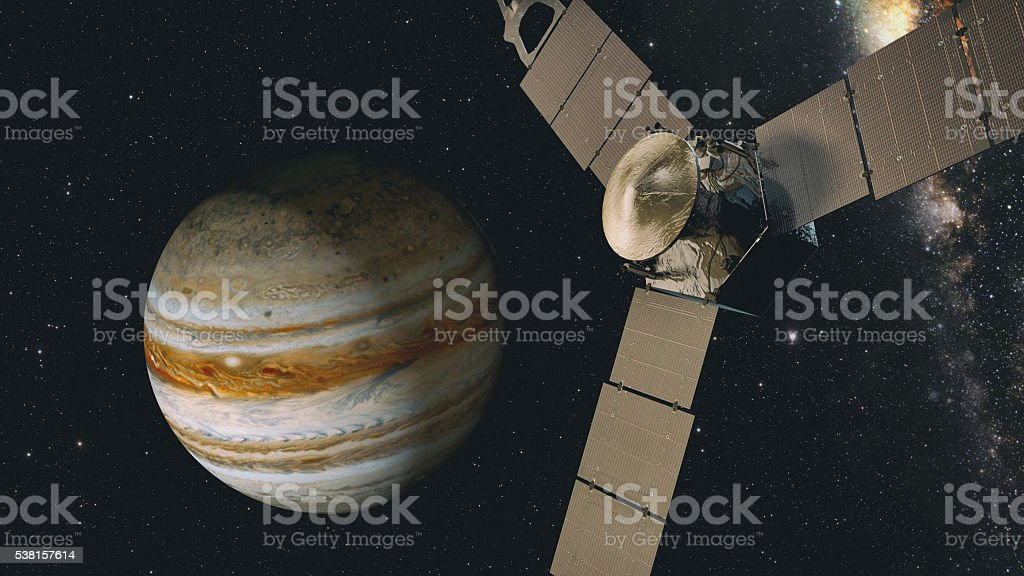jupiter and satellite juno, 3D rendering. stock photo