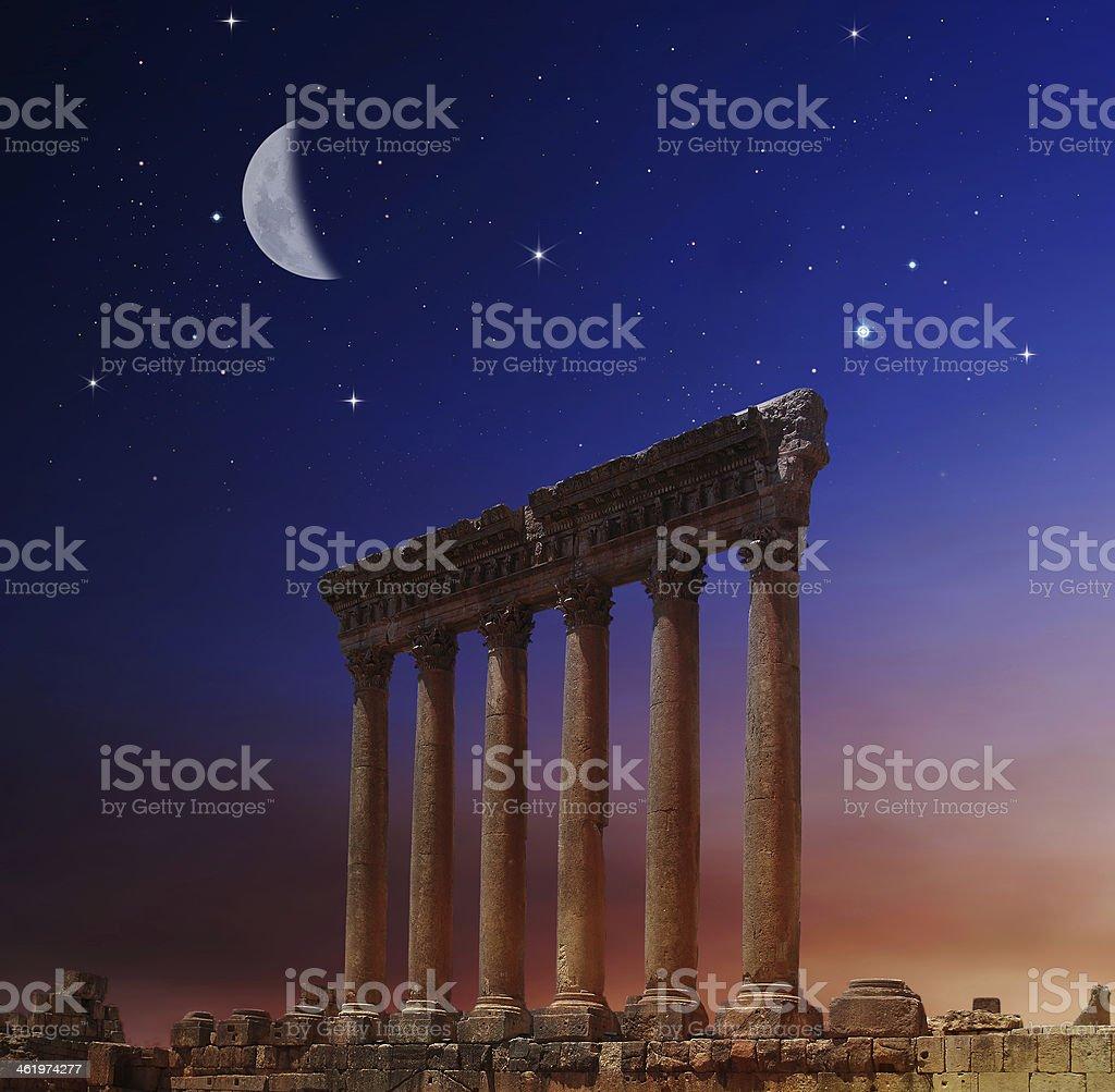Jupiter's temple ancient Roman columns, Baalbek, Lebanon stock photo