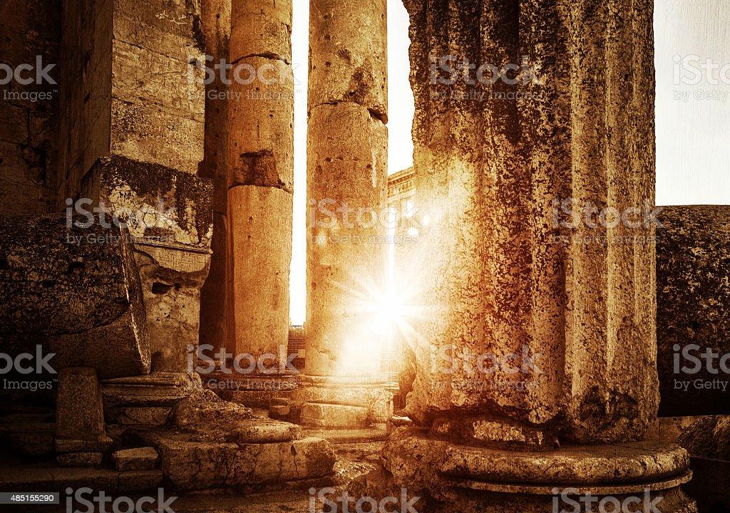Jupiter's temple  Baalbek in sunset stock photo