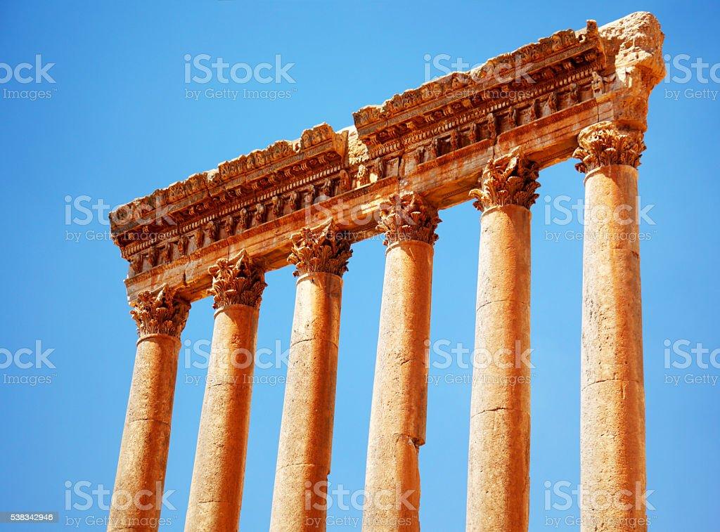 Jupiter's temple over blue sky, Baalbek, Lebanon stock photo