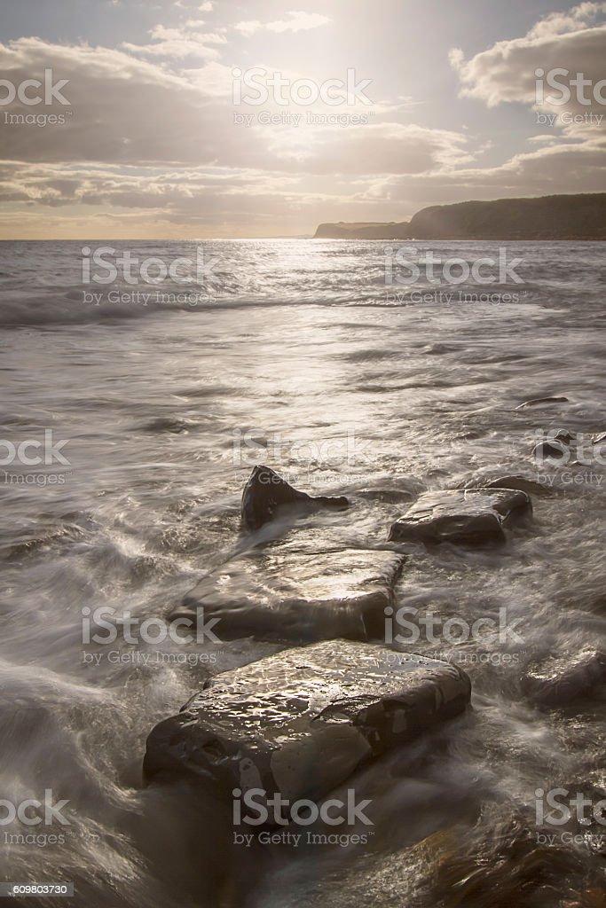 Jurassic coast and limestone rock formation stock photo
