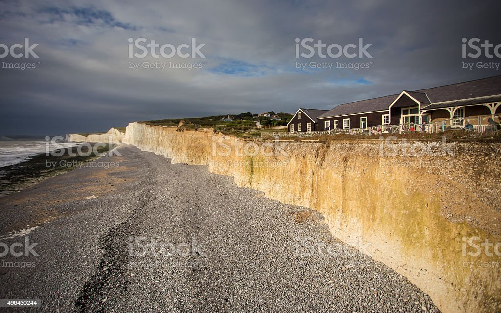Jurassic coast at Seven Sisters at sunset, England, UK stock photo
