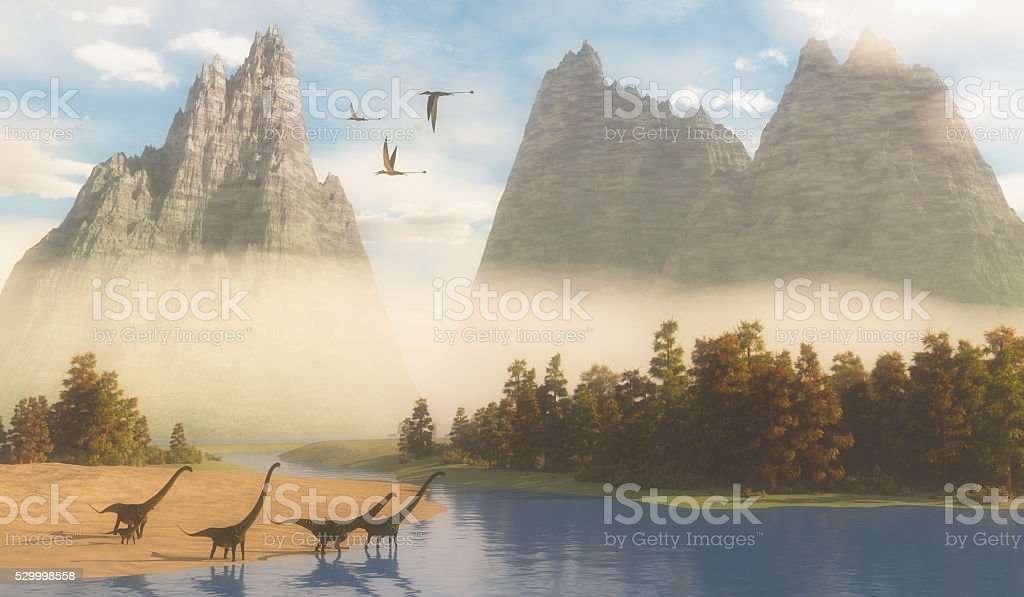 Jurassic Mamenchisaurus Habitat stock photo