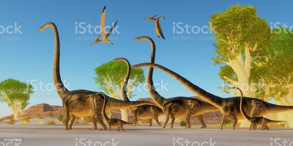 Jurassic Omeisaurus Forest stock photo
