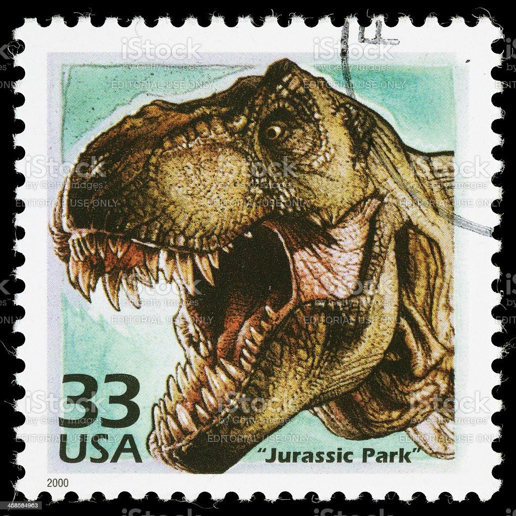 USA Jurassic Park postage stamp stock photo
