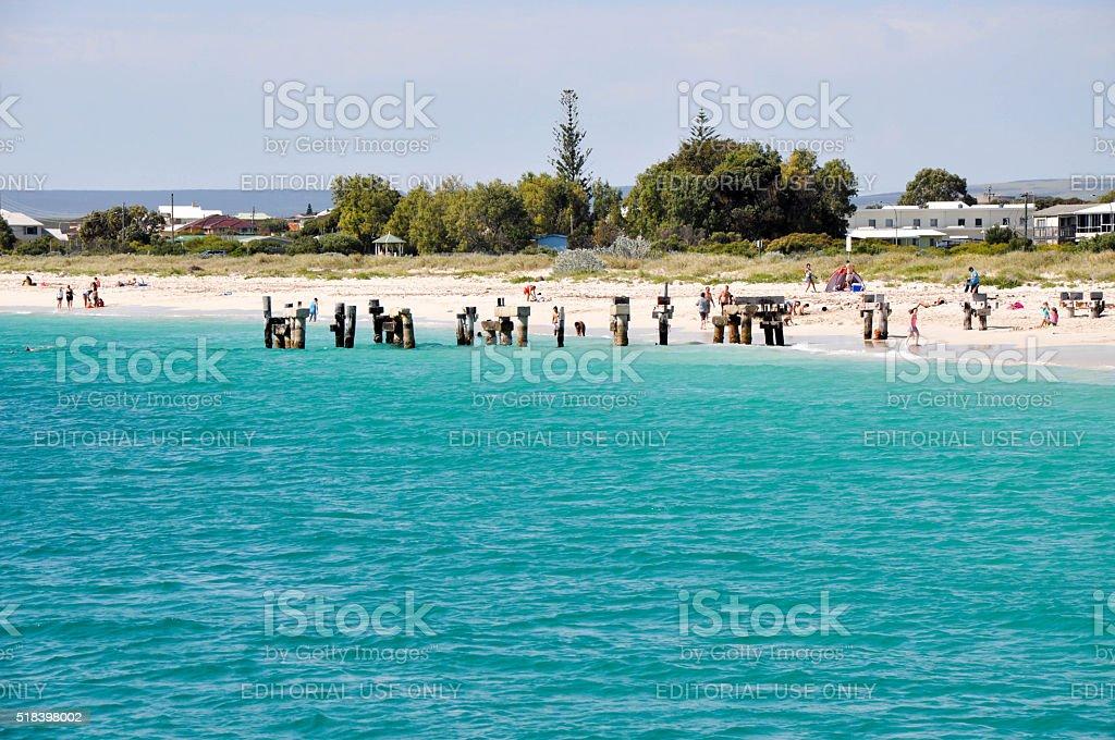 Jurien Bay Beach: Abandoned Jetty stock photo