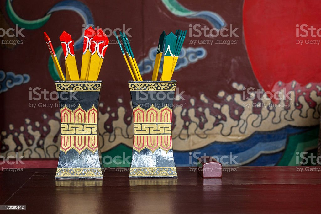 juristic tokens, in Chinese ancient courtroom stock photo