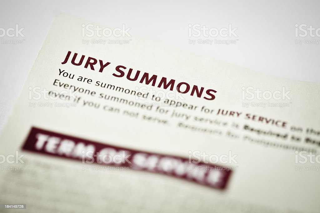 Jury Duty Summons stock photo
