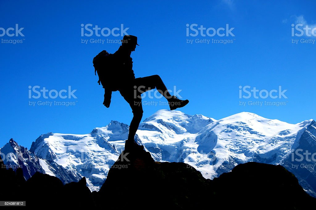Just a step to Mont Blanc stock photo