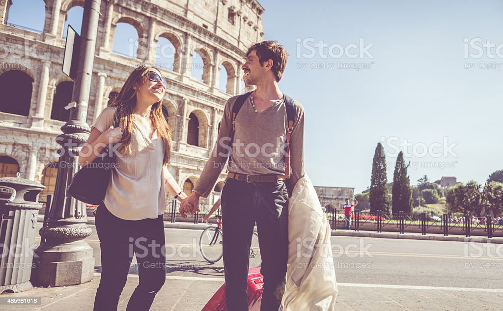 Just arrived in Rome stock photo