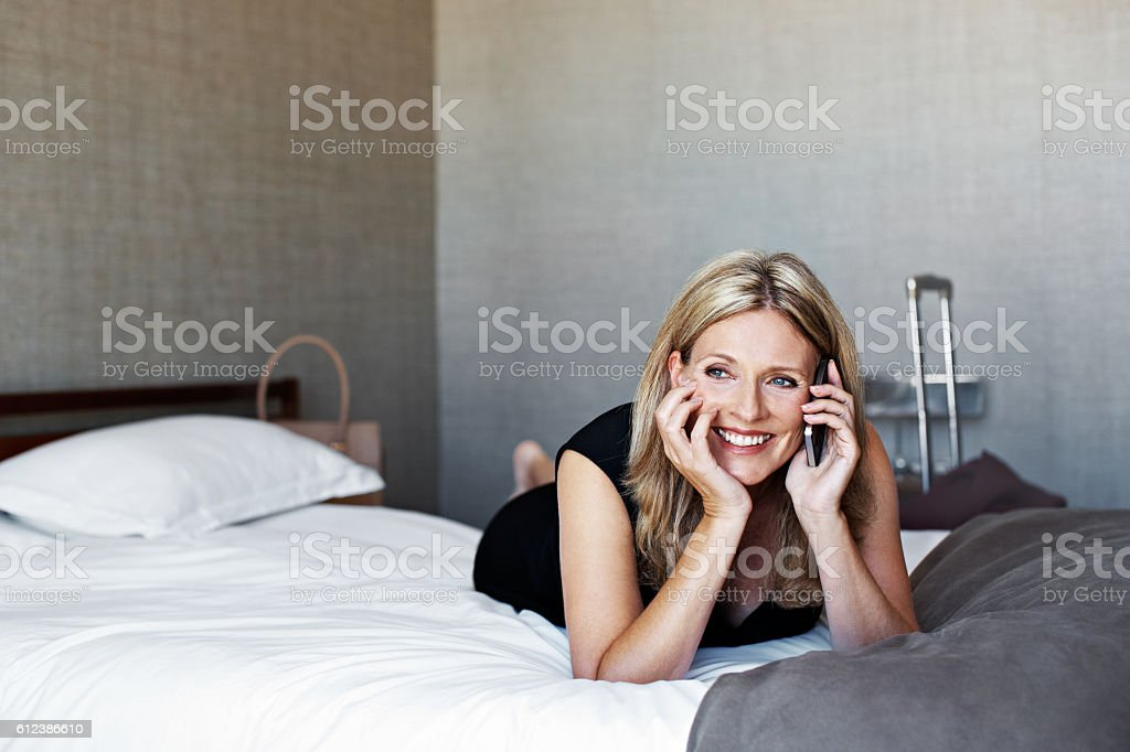 I just checked in at the hotel! stock photo