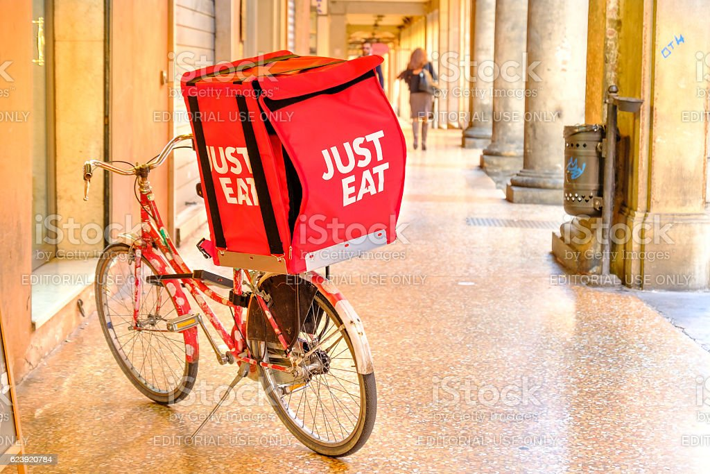 Just Eat bicycle delivery stock photo