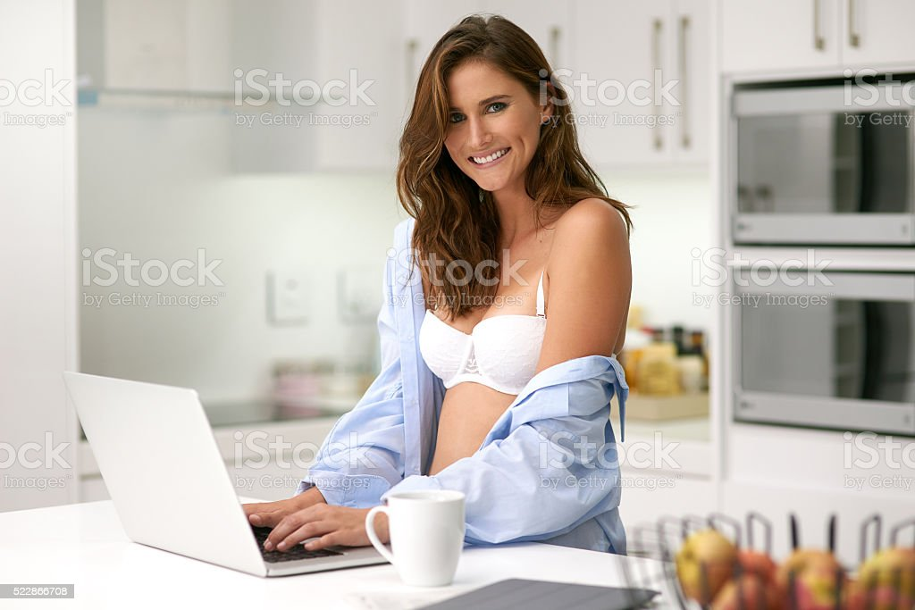 Just getting some online inspiration on what to wear stock photo