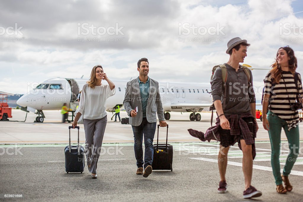 Just got off the plane stock photo