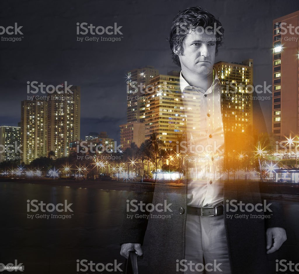 Just him and the city night stock photo