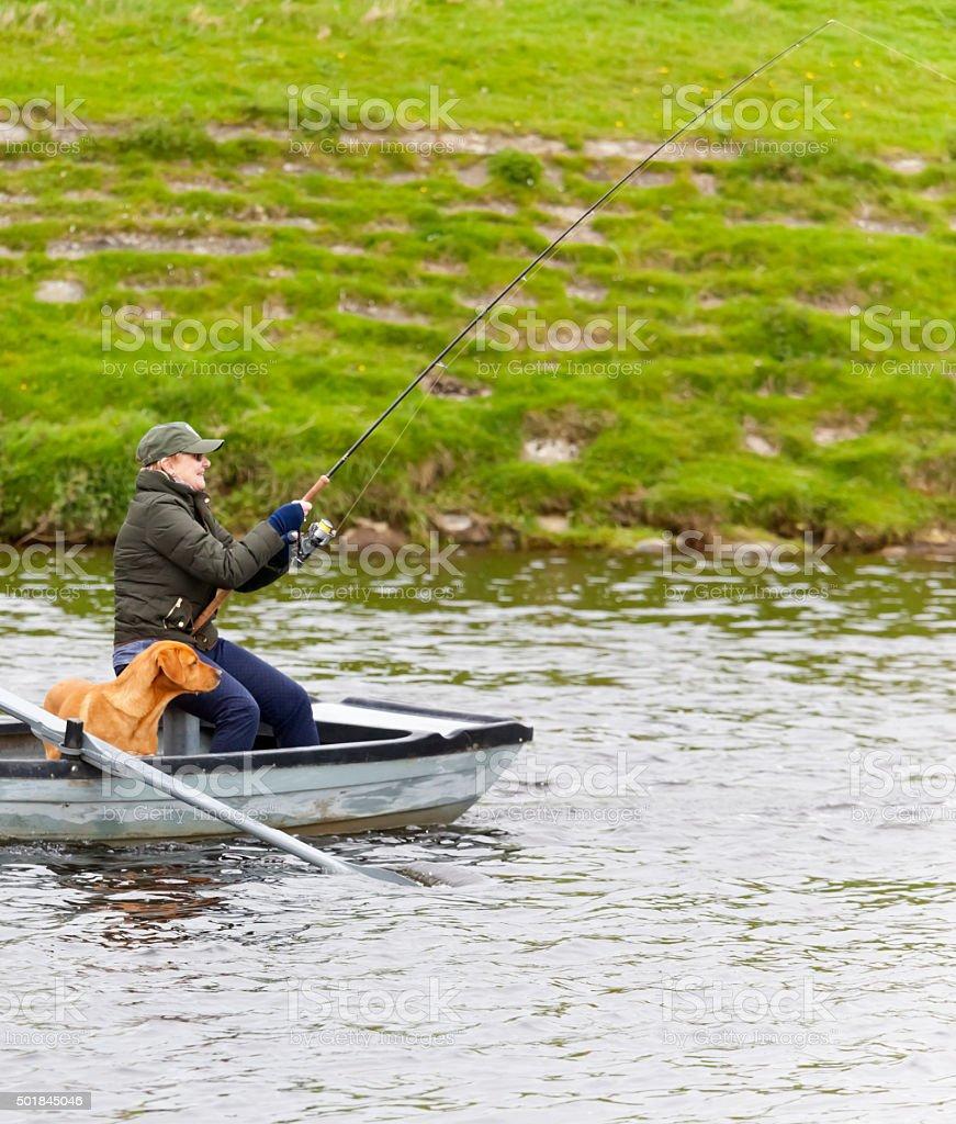 Just Hooked a Scottish Salmon stock photo