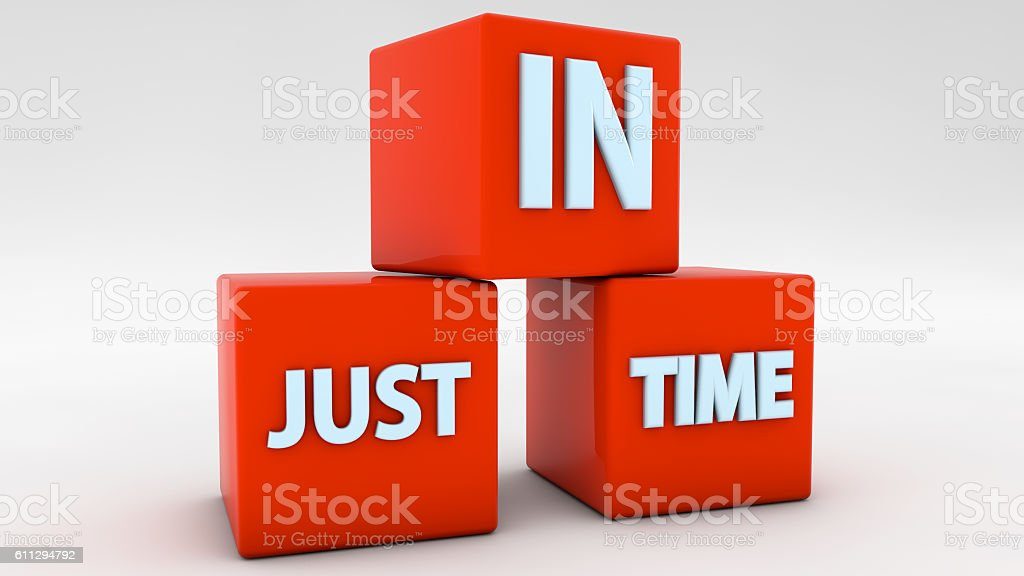 Just in time 3d red cubes stock photo
