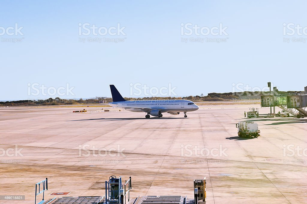 Just Landed Airplane stock photo