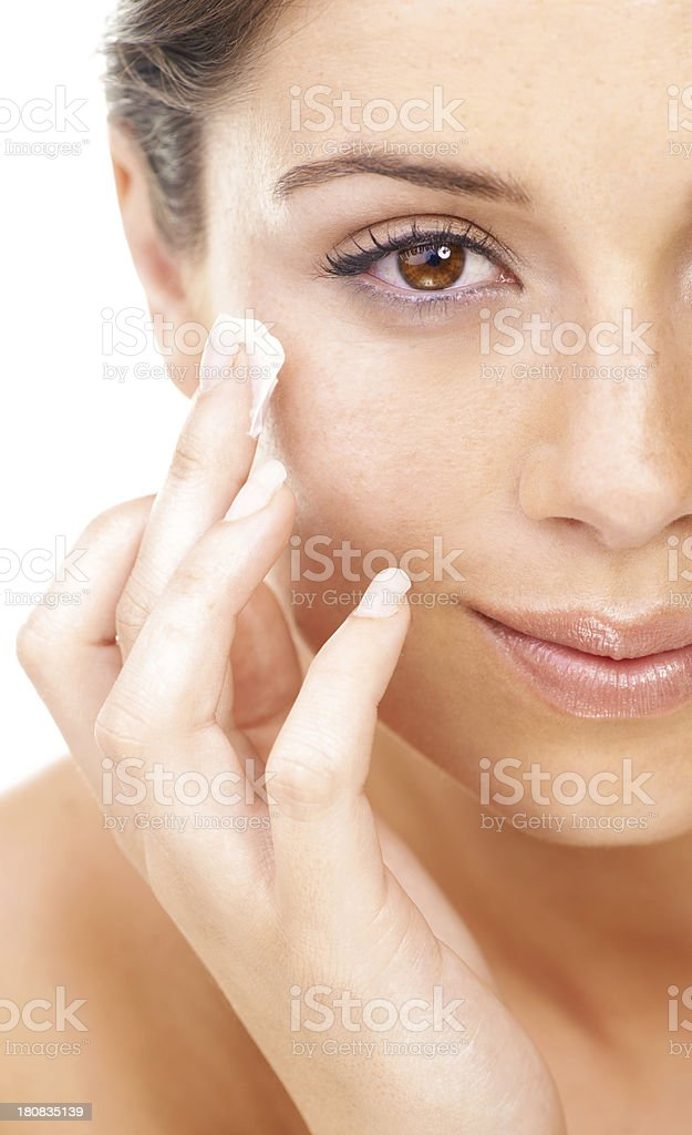 I just love the way this makes my skin feel! royalty-free stock photo