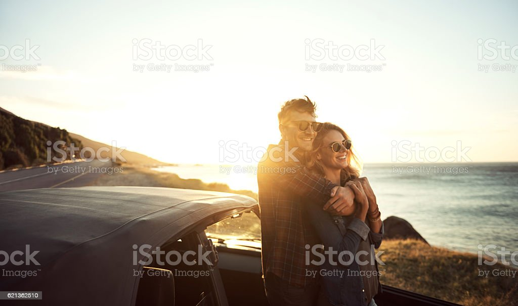 Just loving their romantic getaway stock photo