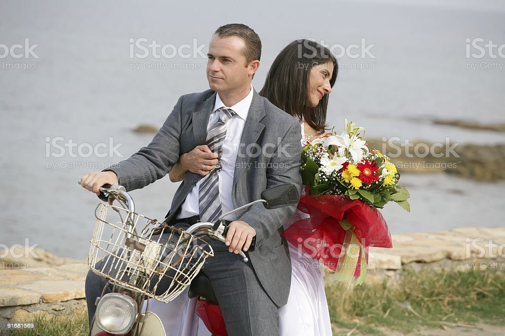 Just Married - bride and groom eloping stock photo
