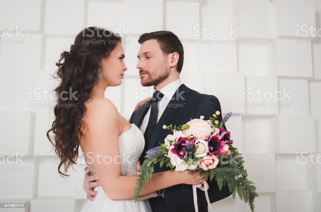 Just married couple dancing stock photo