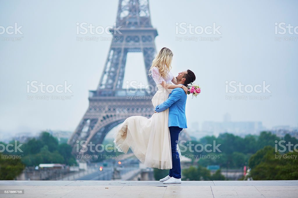 Just married couple in Paris, France stock photo