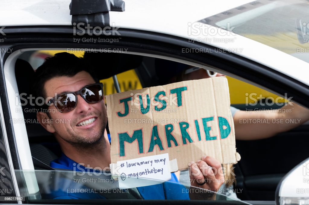 Just Married couple in the Car, San Francisco stock photo