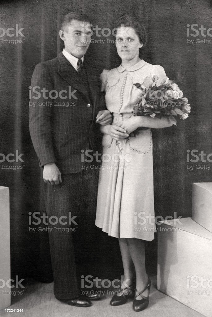 Just married couple in the thirties stock photo