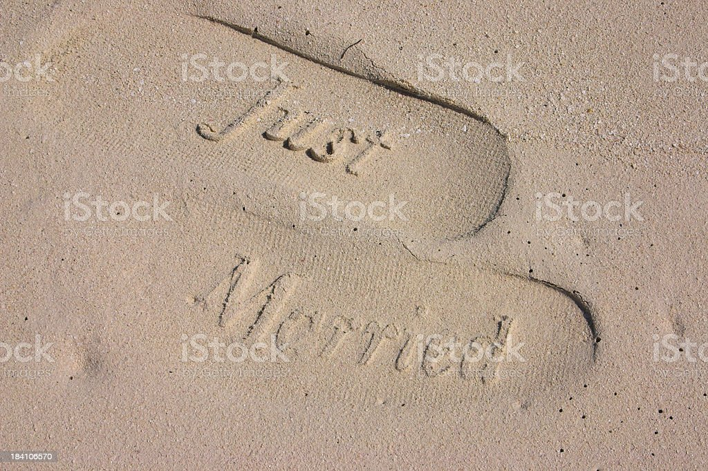 Just Married footprints stock photo