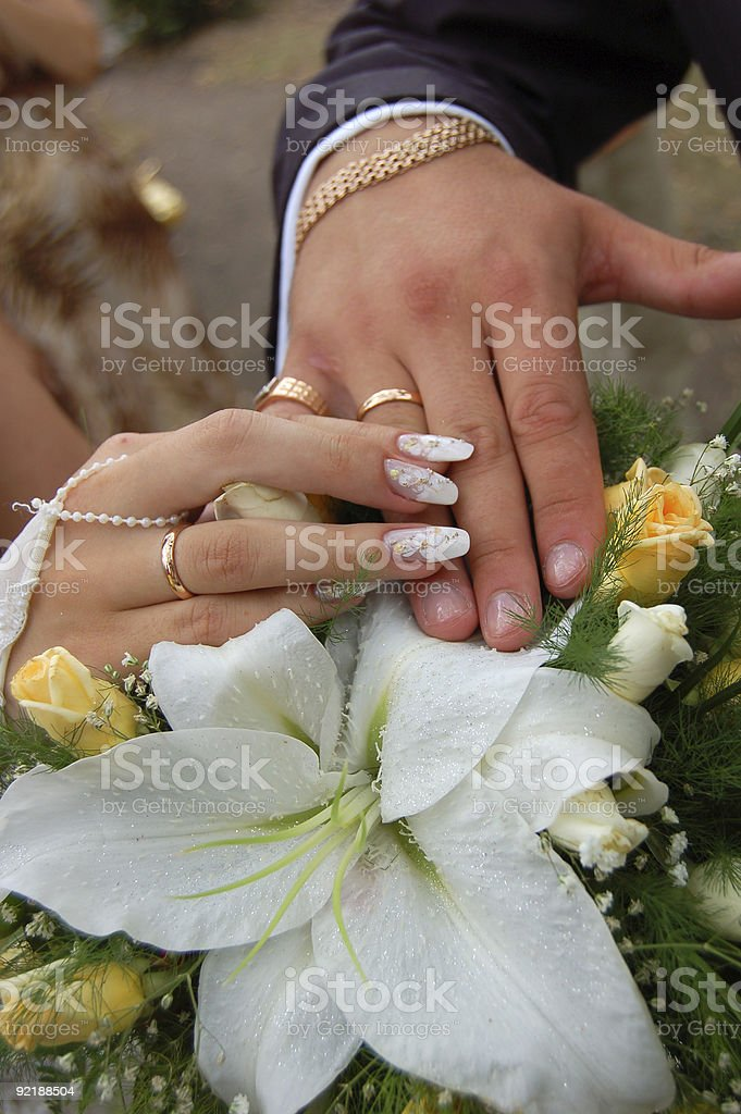 Just Married. Hands. royalty-free stock photo