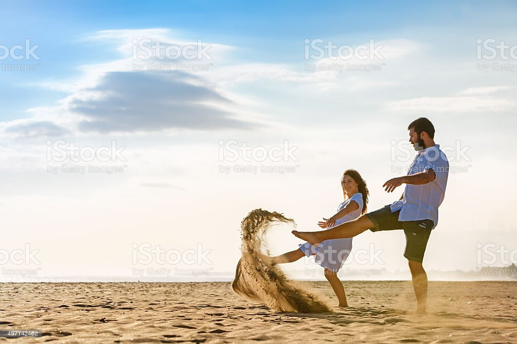 Just married happy family on tropical island honeymoon holidays stock photo