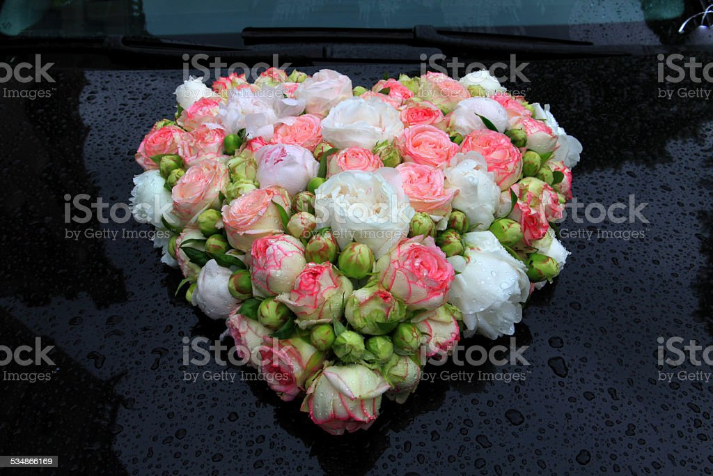just married  - heart of roses stock photo