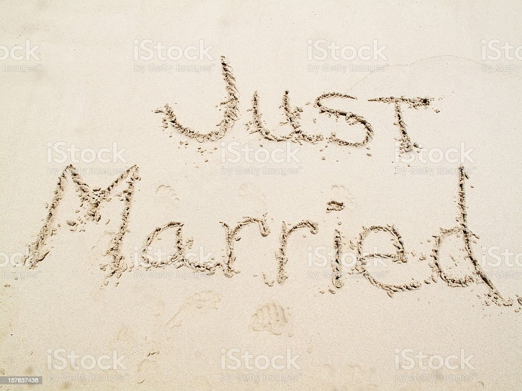 Just Married in the Sand royalty-free stock photo