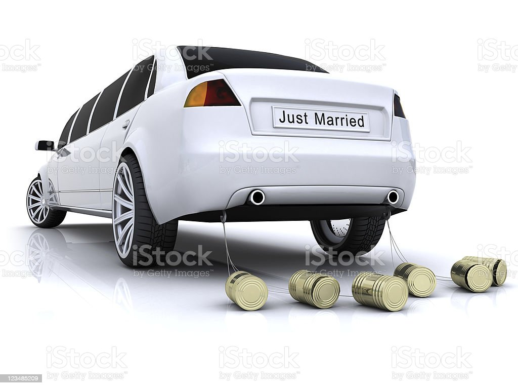 Just Married limousine royalty-free stock photo