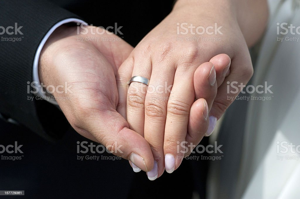 just married newlywed - two hands with ring royalty-free stock photo