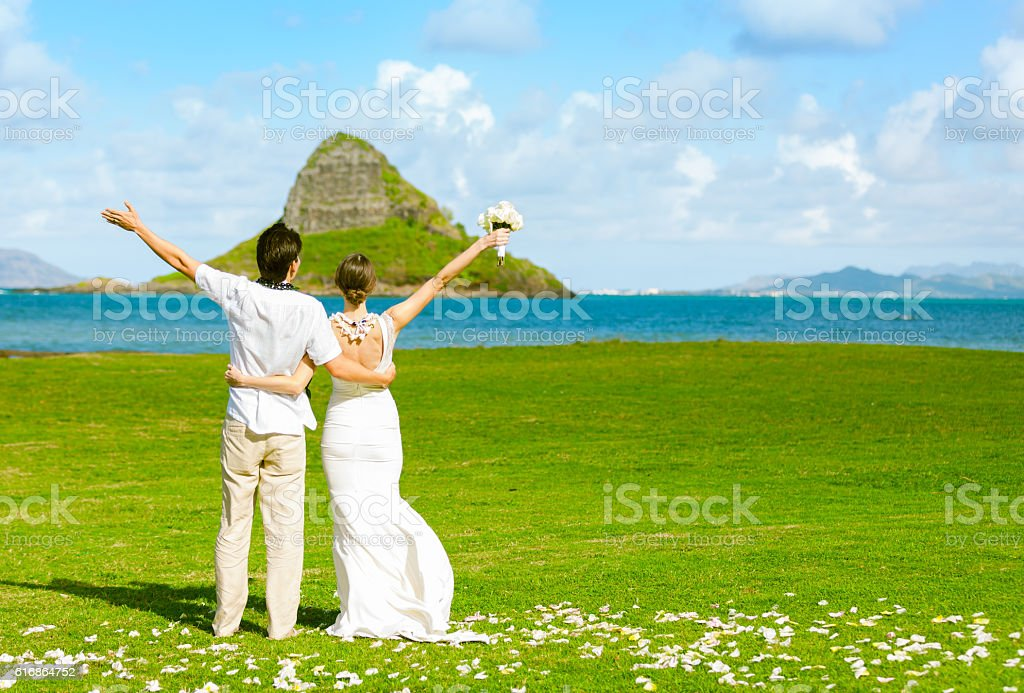 Just married! stock photo