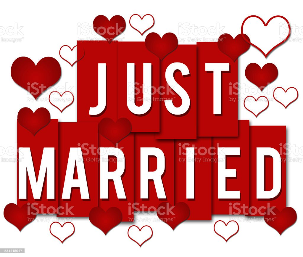 Just Married Red Stripes stock photo