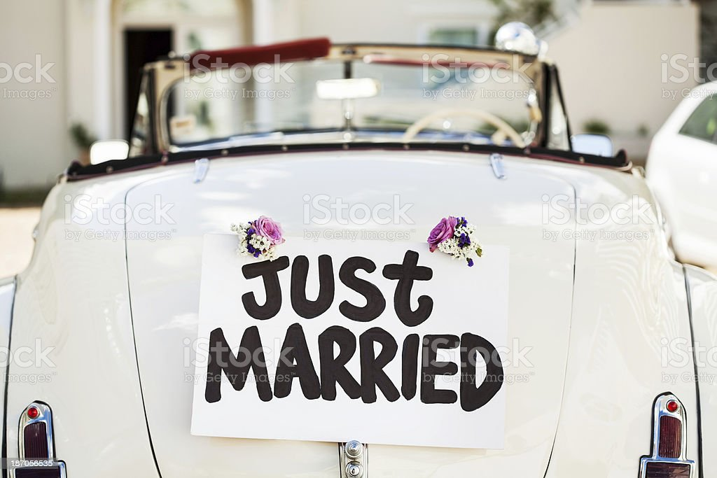 Just Married Sign Attached On Car's Trunk stock photo