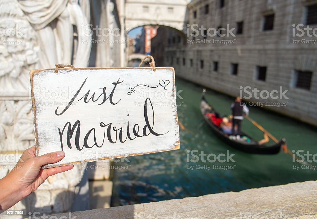 Just married sign stock photo