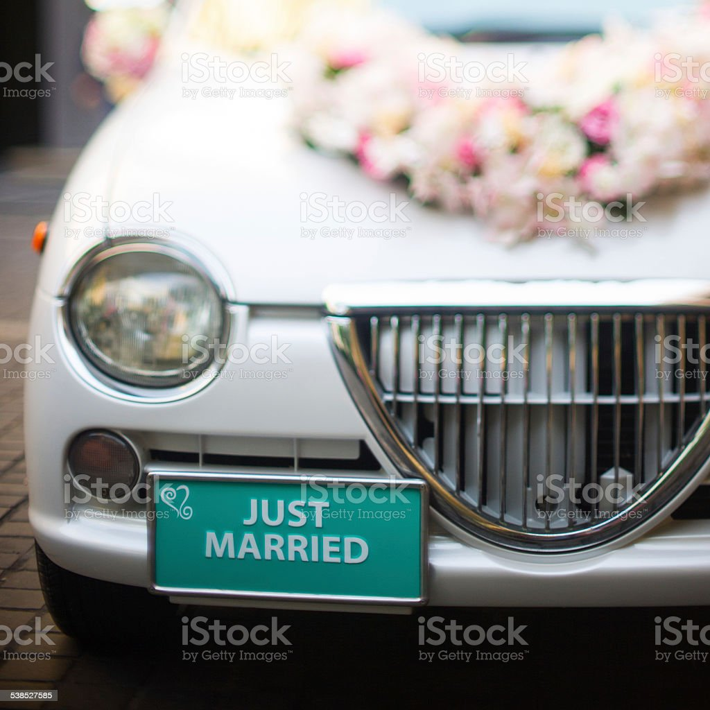 Just married wedding sign for car or decoration stock photo