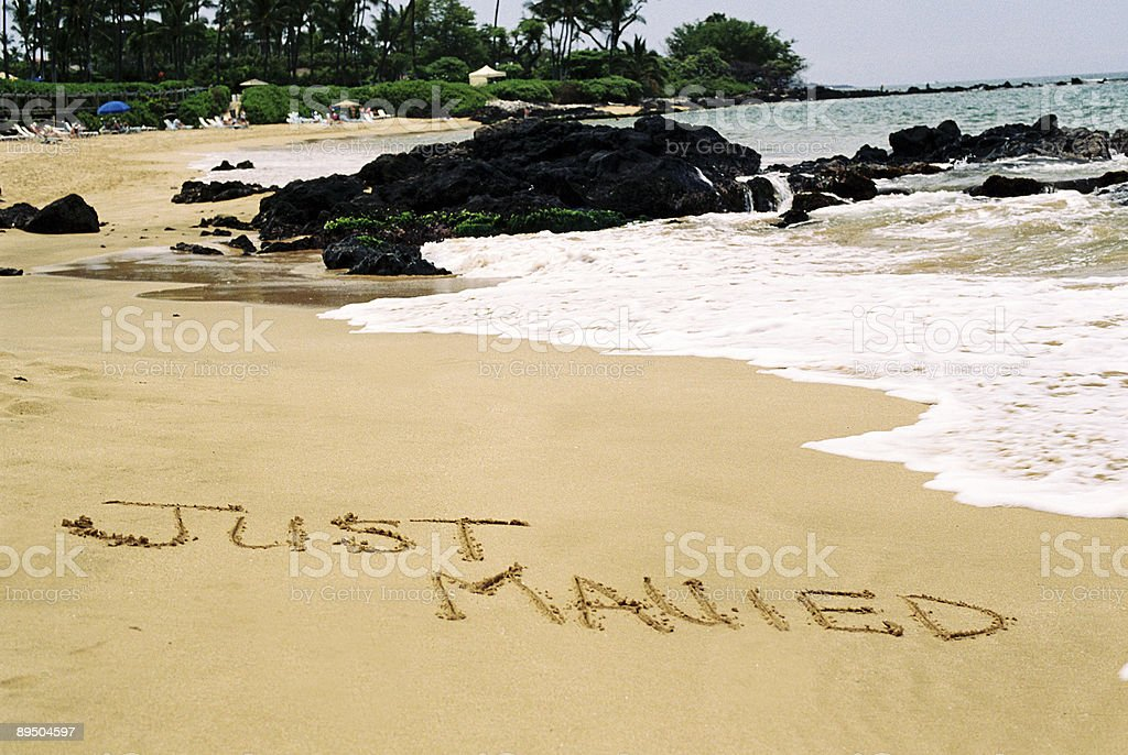 Just Mauied on Hawaii beach stock photo