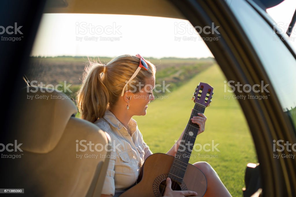 Just me, my music and nature stock photo