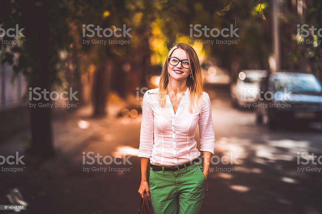 Just me walking stock photo