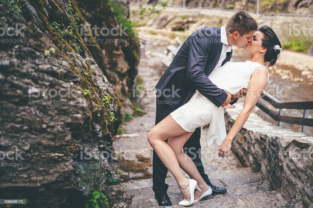Just merried romance stock photo