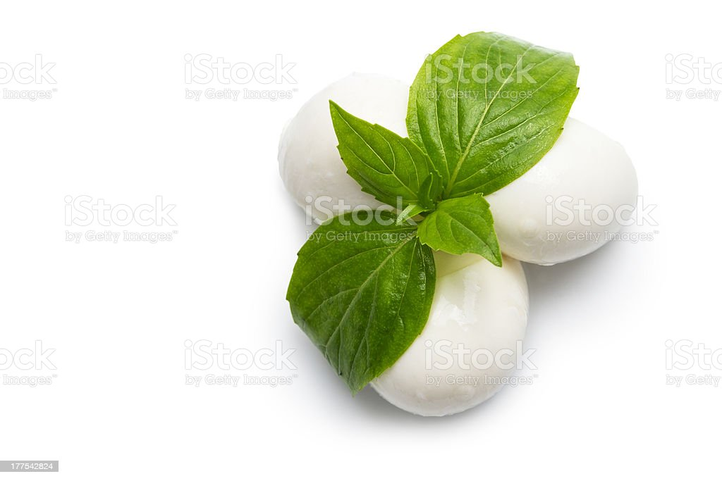 just mozzarella balls cheese with leaves of basil stock photo