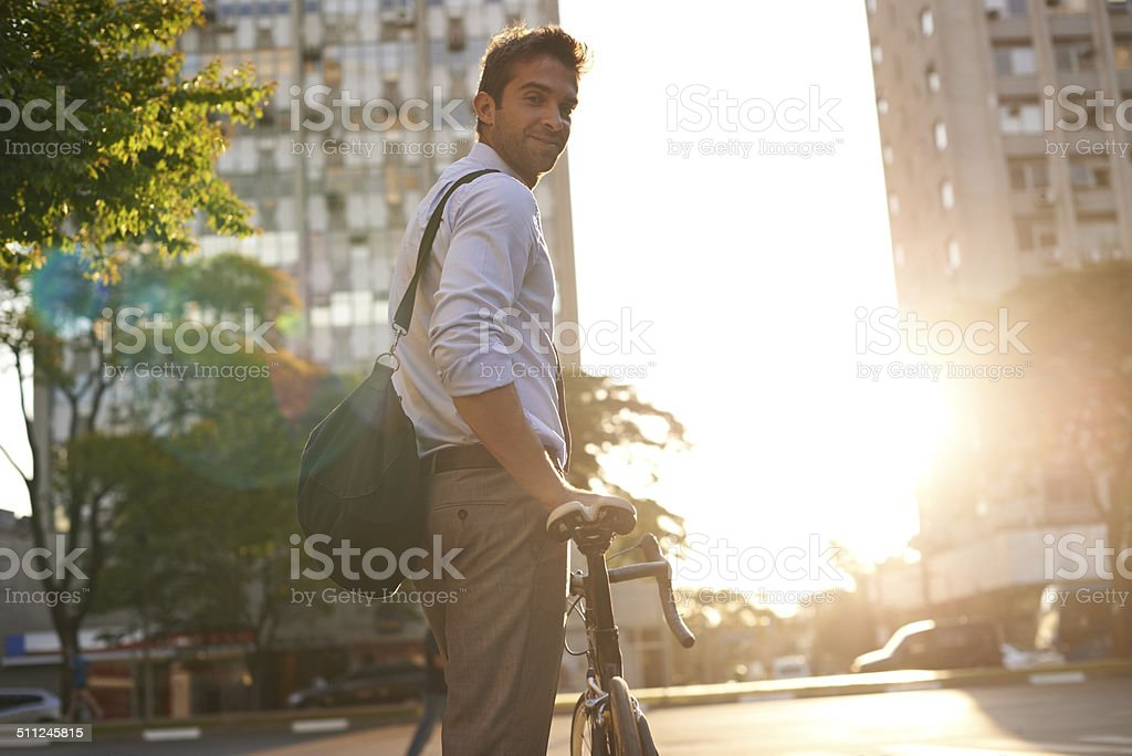 Just on my way to work stock photo