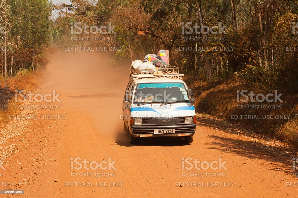 Just one image from Africa Road under dust condition stock photo